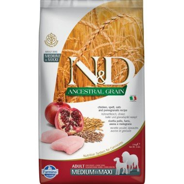 Farmina N&D Ancestral grain poulet grenade pour chien adulte medium-maxi 2,5kg