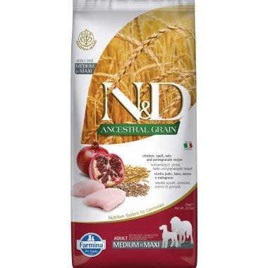 Farmina N&D Ancestral grain poulet grenade pour chien adulte medium-maxi 12kg
