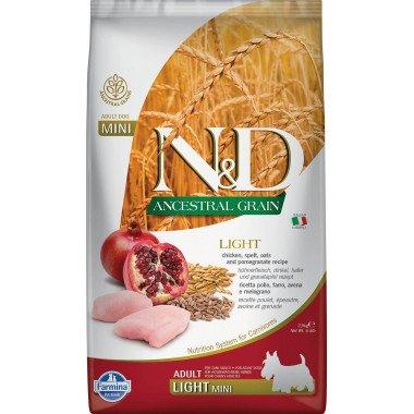 Farmina N&D Ancestral grain poulet grenade light pour chien adulte mini 2,5kg