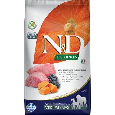 Farmina N&D Potiron grain free agneau myrtille pour chien adulte medium-maxi 2,5kg