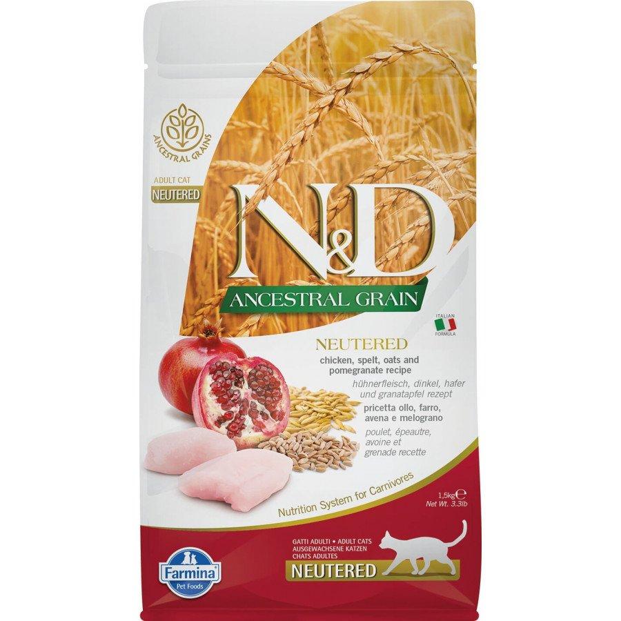 Farmina N&D Ancestral grain poulet grenade pour chat adulte stérilisé 1,5kg